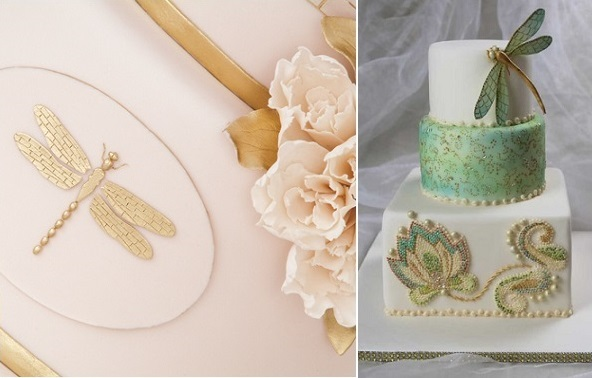dragonfly wedding cakes by Tortenherz right, via Pinterest left
