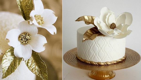 gold centred sugar flowers by Lina Veber Cakes, left, La Fabrik A Gateaux right