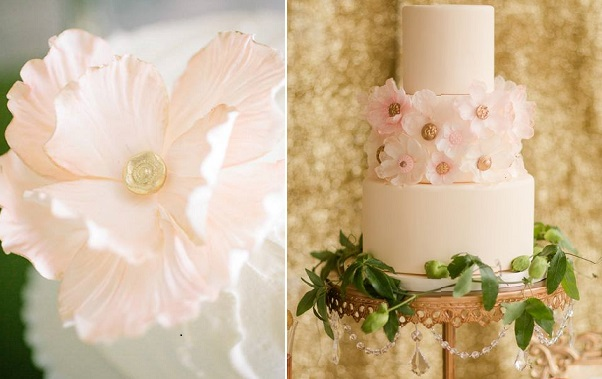 gold centred sugar flowers by Sugarbelle Cakes, left, via Ruffled right