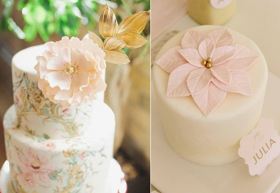 jewelled sugar flowers by Nadia & Co, Mango Studios left, Adorn Cake Design, Kate Landers Photography right