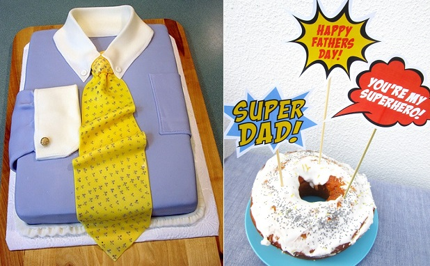 shirt cake by Esperanza Cakes left and free Father's Day printables from Catch My Party