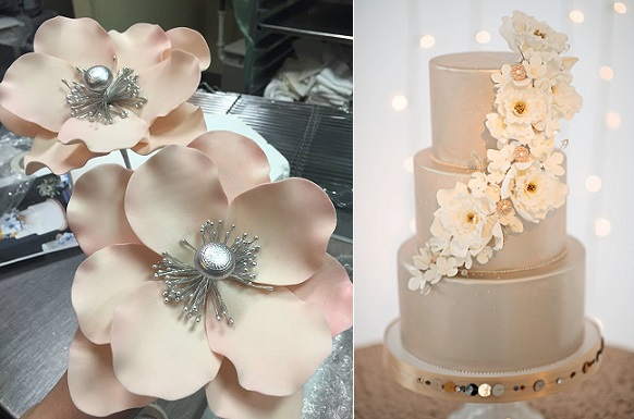 silver centred sugar flowers by Gateaux Inc left, cake right by The Sugar Suite, Kristen Weaver Photography
