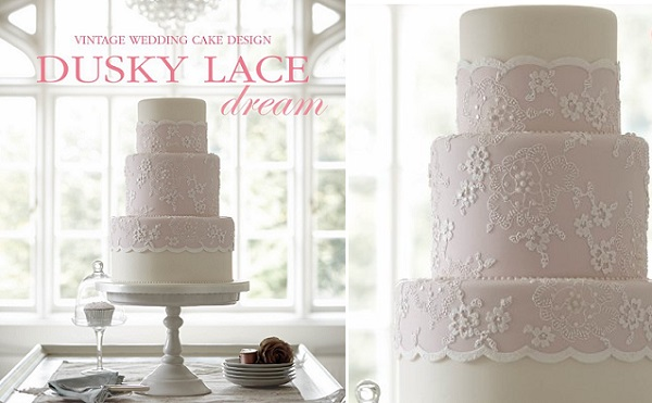 vintage lace wedding cake by Zoe Clark from Chic & Unique Vintage Wedding Cakes