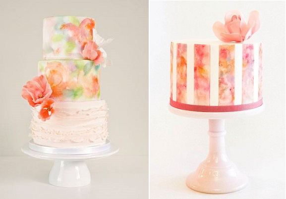 watercolour wedding cake by The Cake Whisperer, Any Symes Photography left, by Miso Bakes right