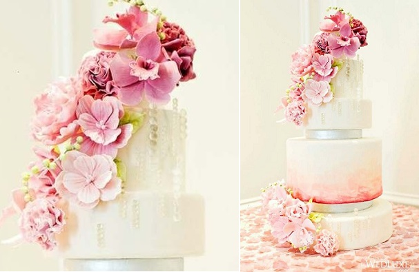 watercolour wedding cake image via Wedluxe