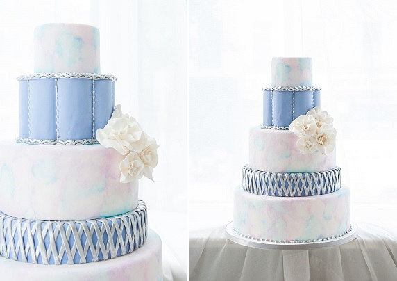 watercolour wedding cake in blue by Haute So Sweet via Wedding Chicks, Mikkal Paige Photography