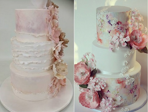 watercolour wedding cakes by Rasha Zalgout left, Little Malvern Cake Co AU right