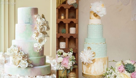 watercolour wedding cakes in seagreen by Kien and Sweet left via WedLuxe and by Hey There Cupcake right