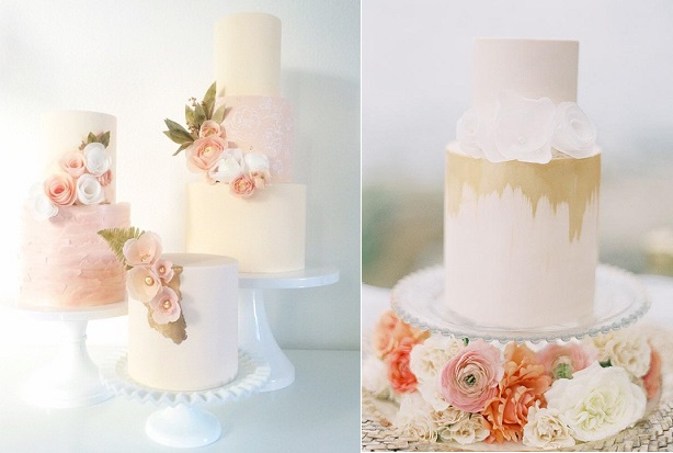 watercolours and wafer paper wedding cakes by Hey There Cupcake (image left via 100 Layer Cake, Ashley Kelemen)