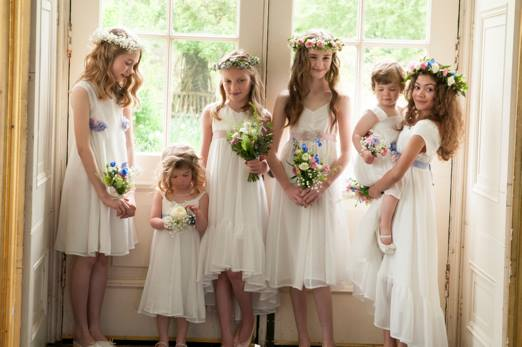 apple orchard inspired little maid dresses by Damselfly via Natural Wedding Company