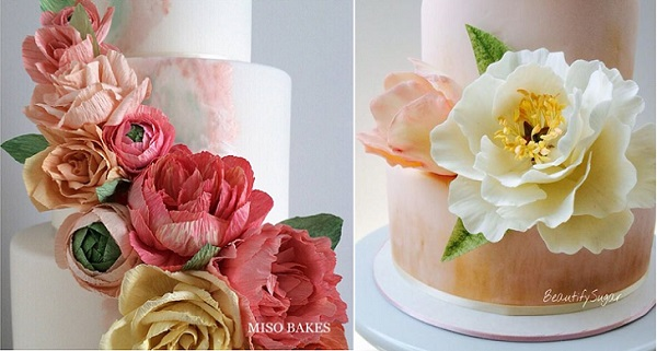crepe paper flowers by Miso Bakes, wafer paper leaves, sugarpaste peony & tulip by Beautify Sugar by Audrey