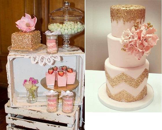 Gold Sequins Wedding Cakes - Cake Geek Magazine