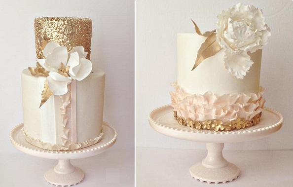 Gold Sequins Wedding Cakes | Cake Geek Magazine