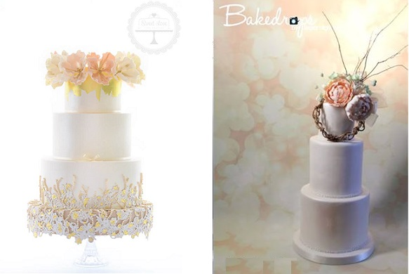 floral crown wedding cake by Sweet Love Cake Couture left, floral garland boho wedding cake right by Sugar High