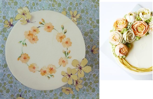floral garland cake designs by Nevie Pie left, Eat Cake Be Merry right