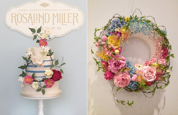 floral garland wedding cake boho style by Rosalind Miller left, Amy Swann sugar flower garland right
