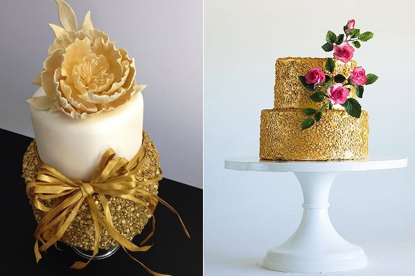 gold sequinned cakes by VS Cakes left, Lina Veber Cakes right