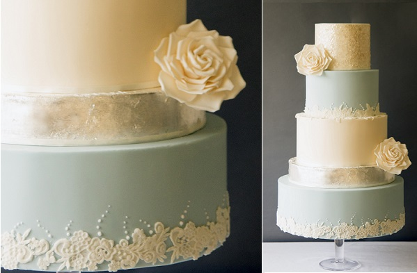 mixed metallics wedding cake gold sequins and silver leaf by Abigail Bloom Cake Co