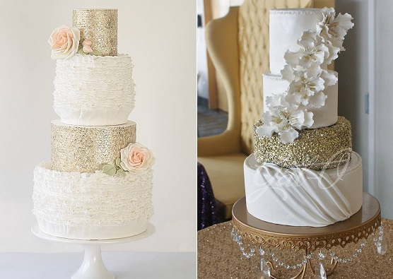 peach and gold wedding cake by Abigail Bloom left, Gat O right
