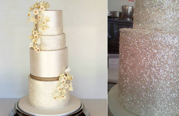 sequins wedding cake by Sweet Disposition Cakes left, glitter squares from CK Products right, image Cake Face