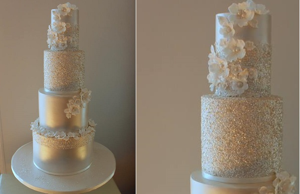 silver sequinned wedding cake glitter squares wedding cake by Call Me Cake Face