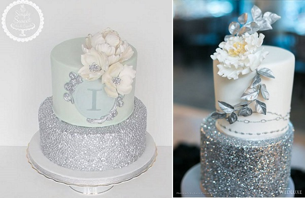 Silver Sequins Wedding Cakes