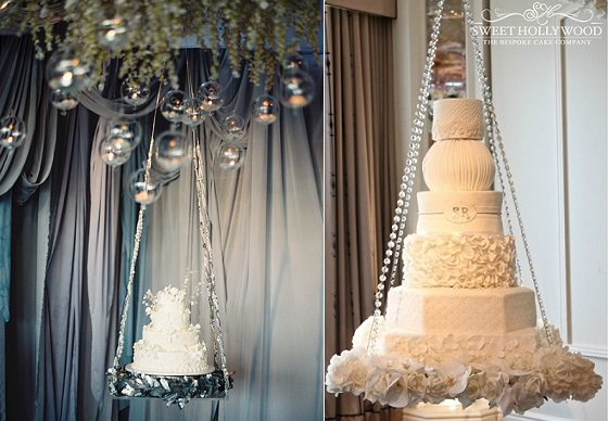 suspended wedding cake left image by Megan Pomeroy Photography, cake right by Sweet Hollywood Cakes