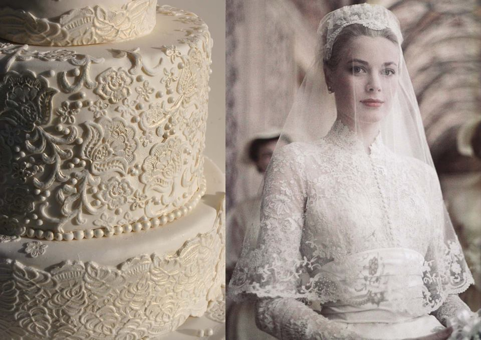 beaded lace wedding cake by Elizabeth's Cake Emporium
