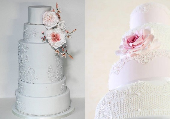 beaded lace wedding cakes by Happy Hills Cakes left, Judi Delaney right