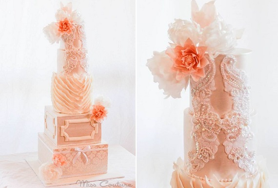 embellished lace wedding cake by Miss Couture