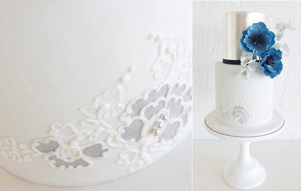 embellished lace wedding cake by Sweet Bloom Cakes