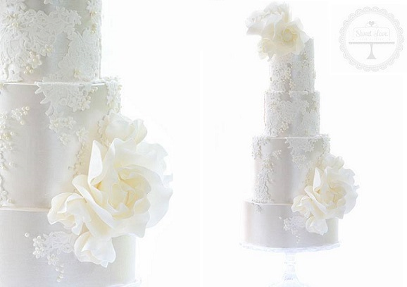 embellished lace wedding cake by Sweet Love Cake Couture