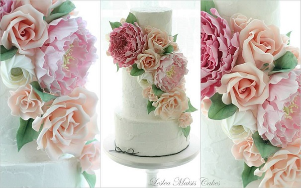garden flowers wedding cake by Leslea Matsis Cakes