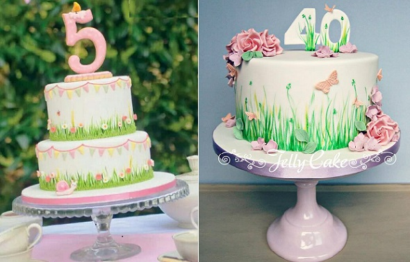 garden party birthday cakes by Jelly Cake right, image left via Pinterest