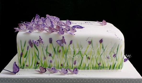 garden party cake with butterflies by Samtastic Cakes