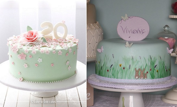 garden party cakes by Bake-A-Boo NZ left, Patricia Mann Designs right
