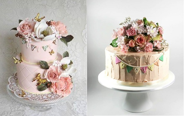 garden party cakes by Firefly India left, Take This Edible Art AU, right