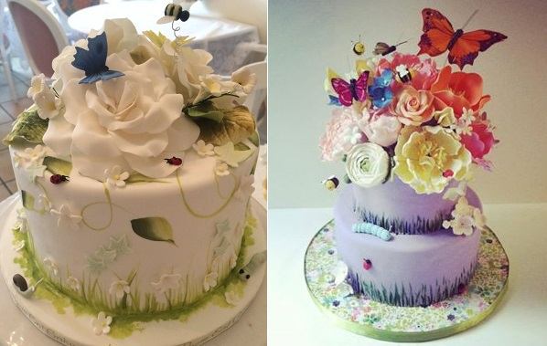 garden party cakes by Let Them Eat Cakes, CA left and Sweet Little Morsels right