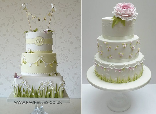 garden party wedding cakes by Rachelle's Cakes left, Jelly Cake right