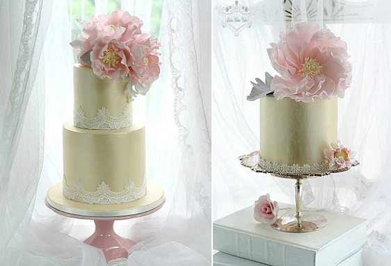 gumpaste peony cakes in pale gold with lace edging by Leslea Matsis Cakes