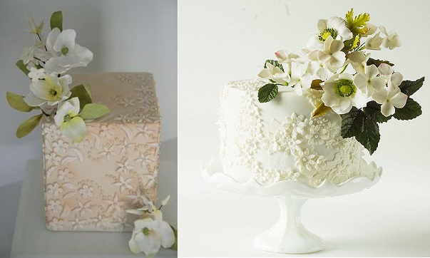 pearl beaded lace cakes by Happy Hills Cakes left, Lina Veber Cake right