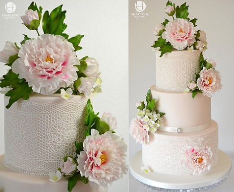 peony rose wedding cake by Hilary Rose Cupcakes with sugar peonies