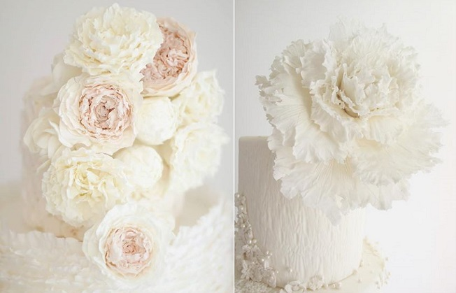 peony wedding cake left and textured peony tutorial right by Maggie Austin
