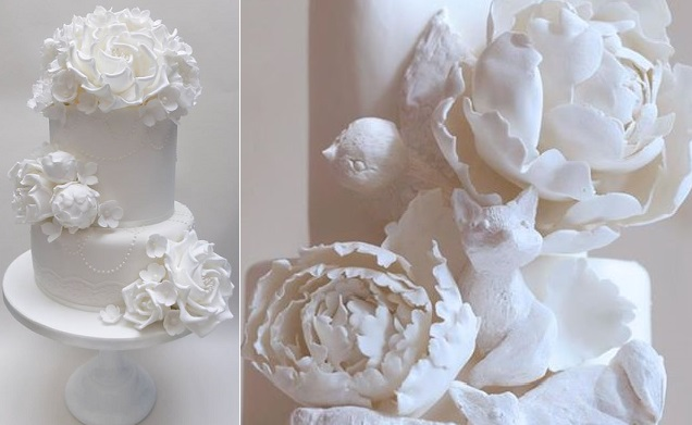 white peony wedding cakes by Scrumdiddly UK left, Kate Sullivan of Cake Power right