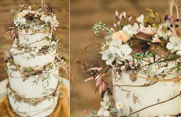 wildflower wedding cake by Amy Swann Cakes, Tobiah Tayo Photography