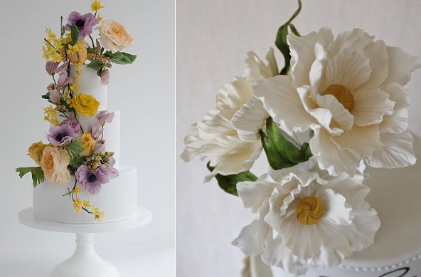 wildflower wedding cakes by Maggie Austin Cake left, Liv Sandberg Cake Art right