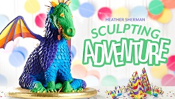 3D dragon cake tutorial sculpted cake by Heather Sherman on Craftsy