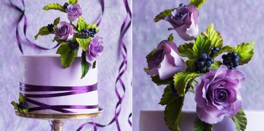 autumn berries and roses wedding cake in lilac and purple by Lina Veber Cake