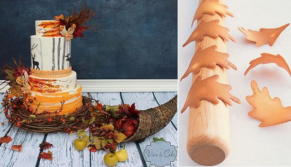 autumn forest wedding cake with deer by Viva La Cake left, tuile leaves from Martha Stewart