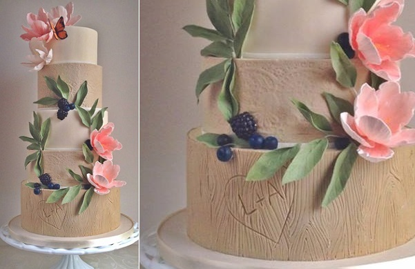 autumn wedding cake for the boho bride with berry garland by The Cake Whisperer